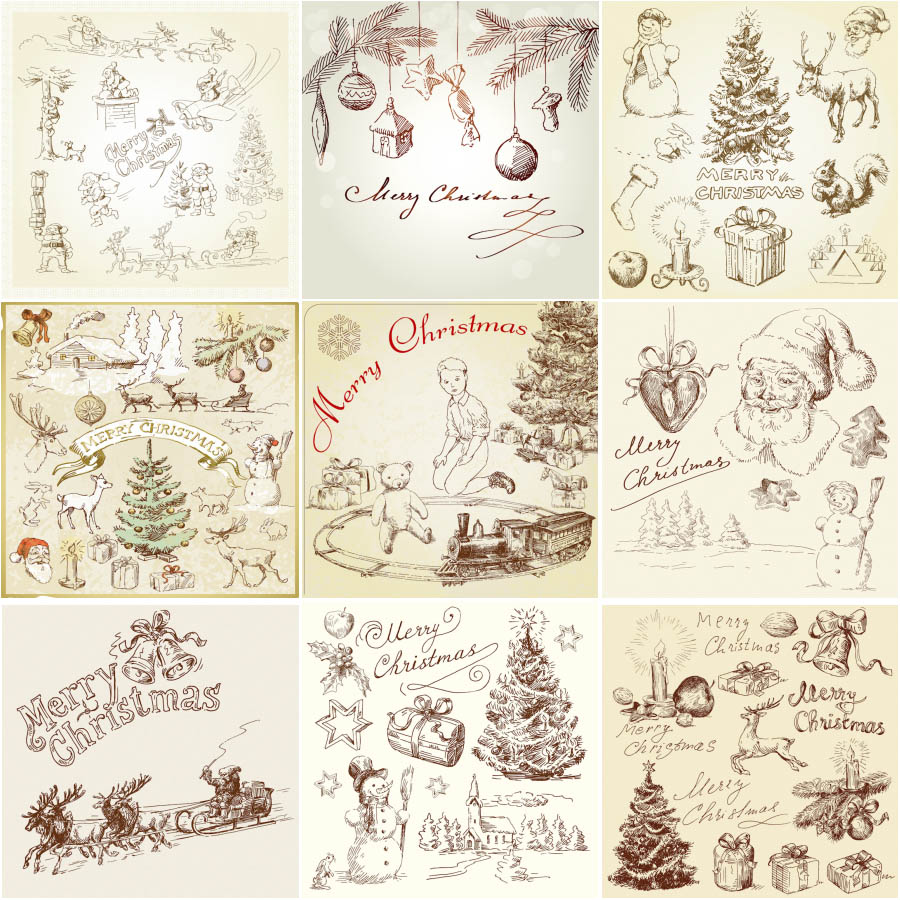 Pencil sketch Christmas ornament design vector