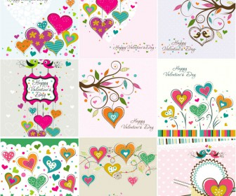 Collection floral backgrounds with hearts for Valentines Day