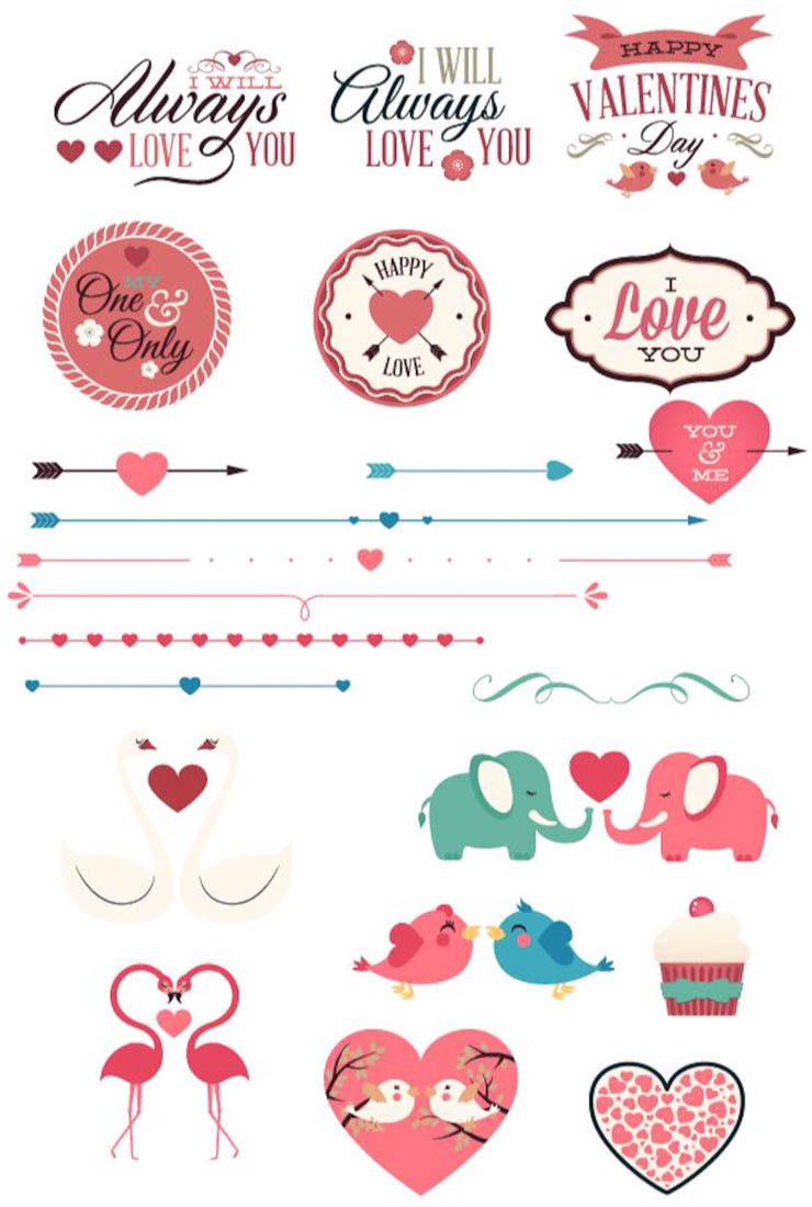 Cupid's arrows and Valentines Day attributes