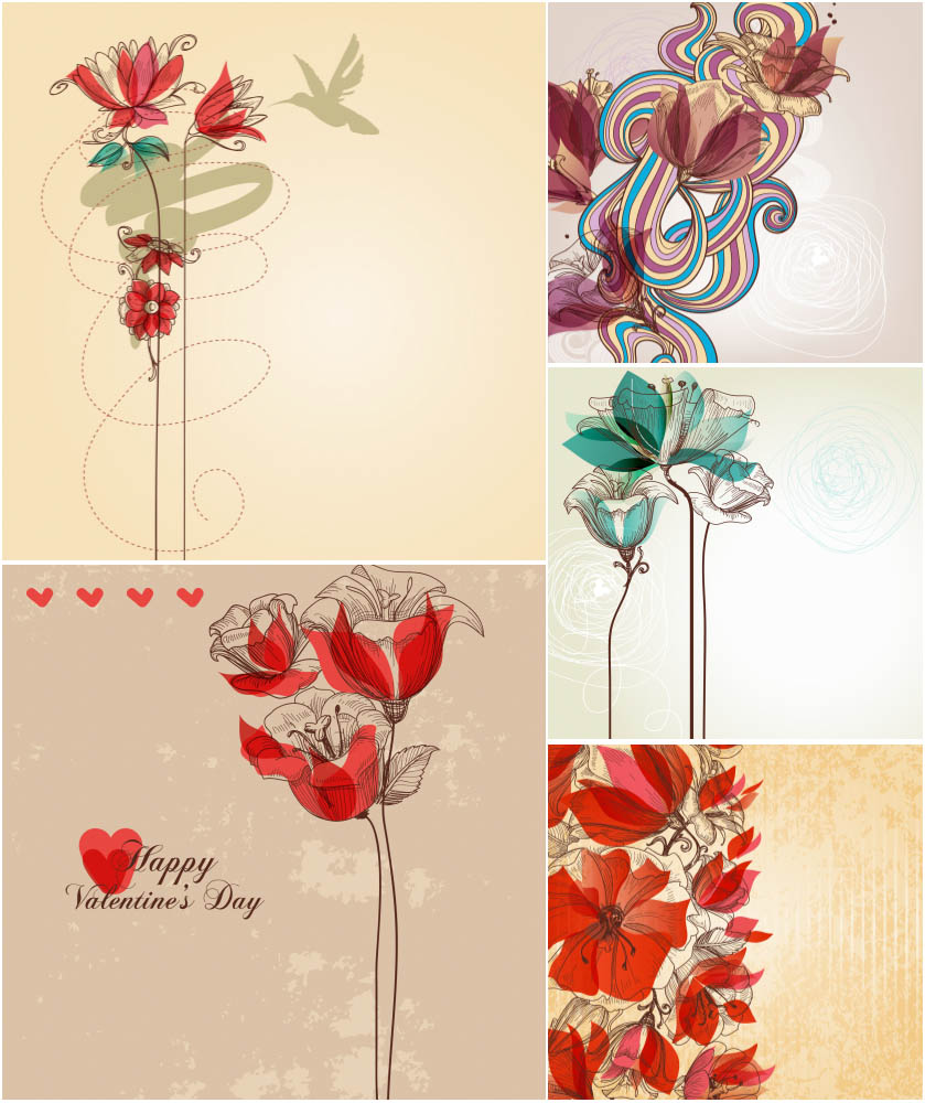 Floral backgrounds Valentine's Day vector