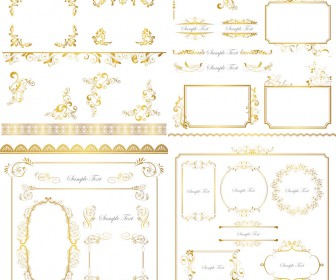 Gold frames, corners, ornaments
