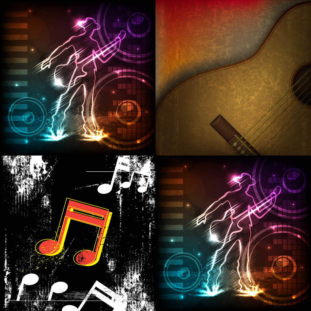 Music style backgrounds with guitar vector
