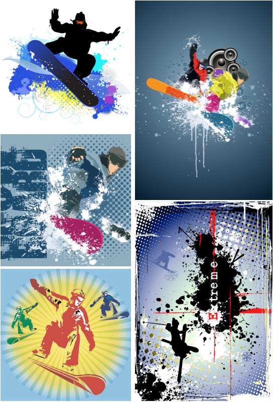 Snowboarder backgrounds templates