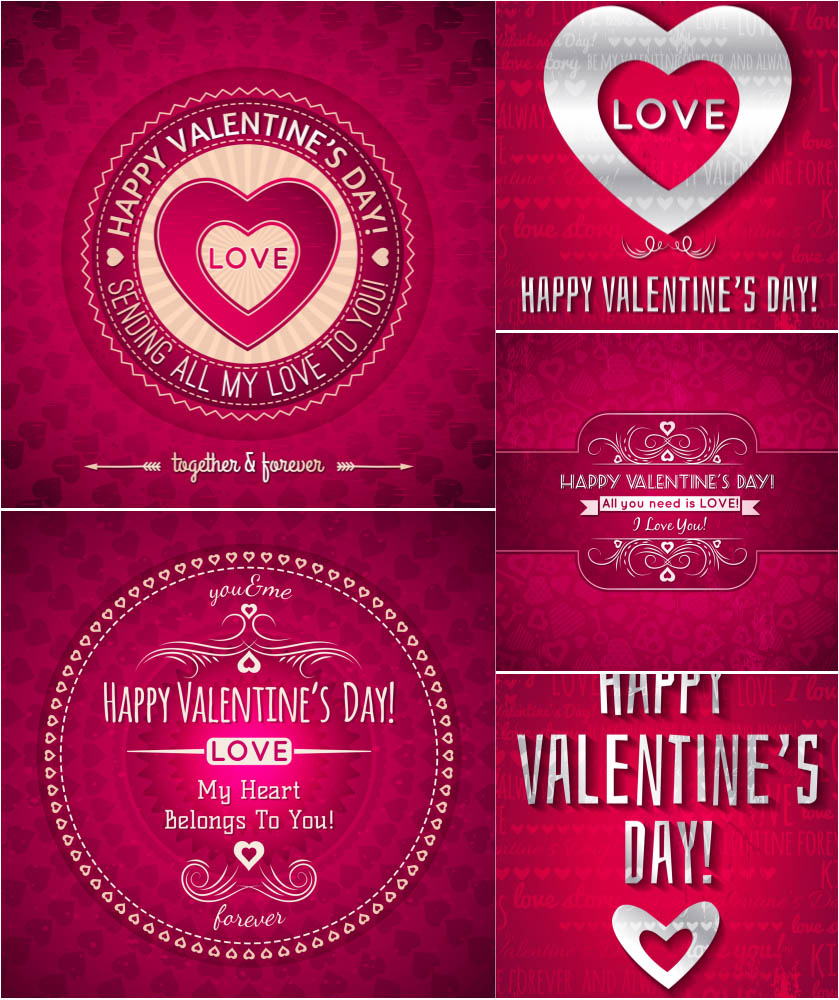 Valentine's Day, February 14, romantic backgrounds vector