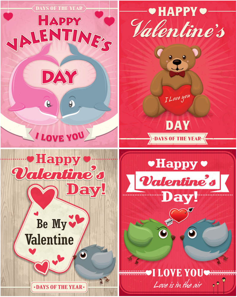 Valentines Day backgrounds with animal couple