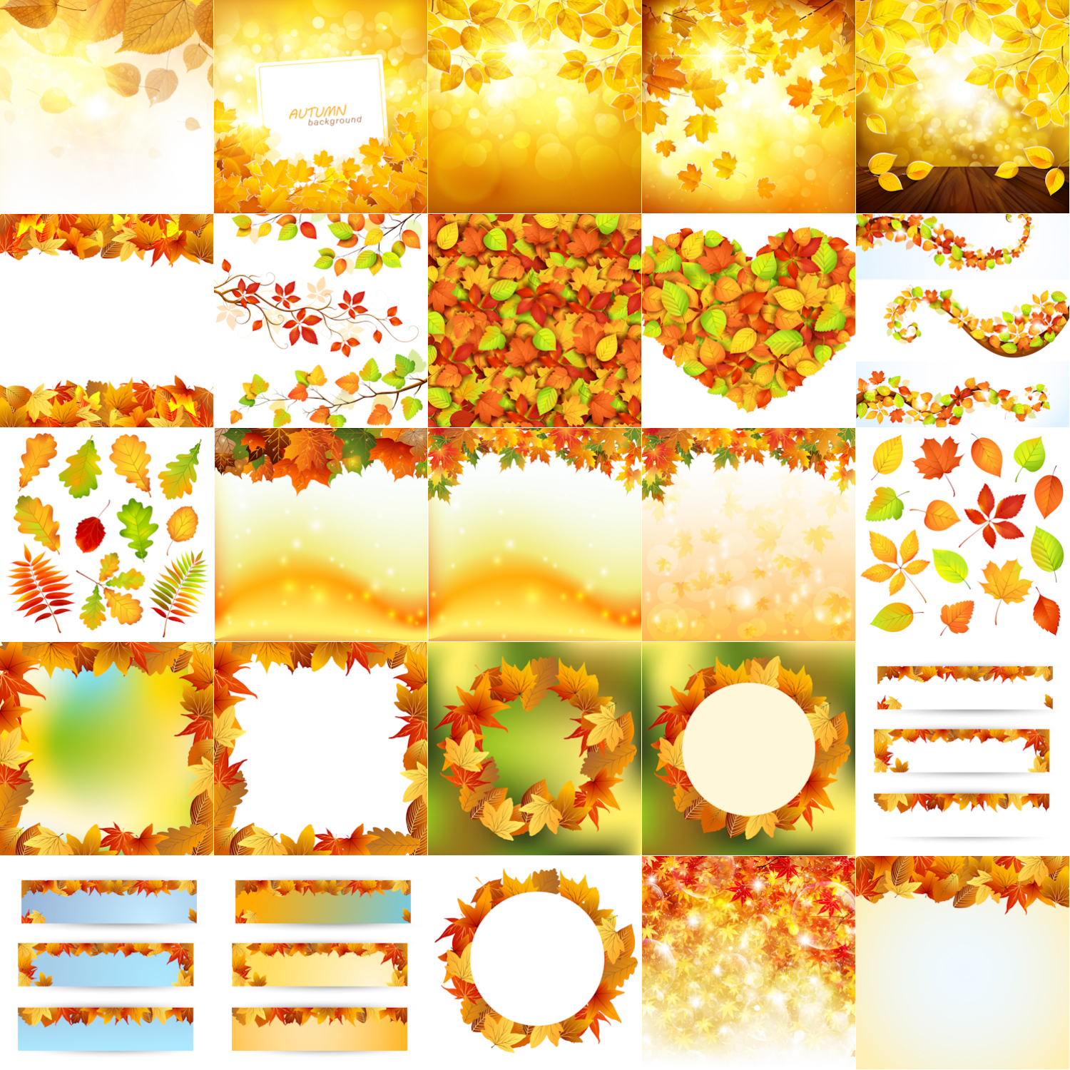 Autumn (fall) backgrounds with fallen yellow leaves, banners, templates, autumn leaves