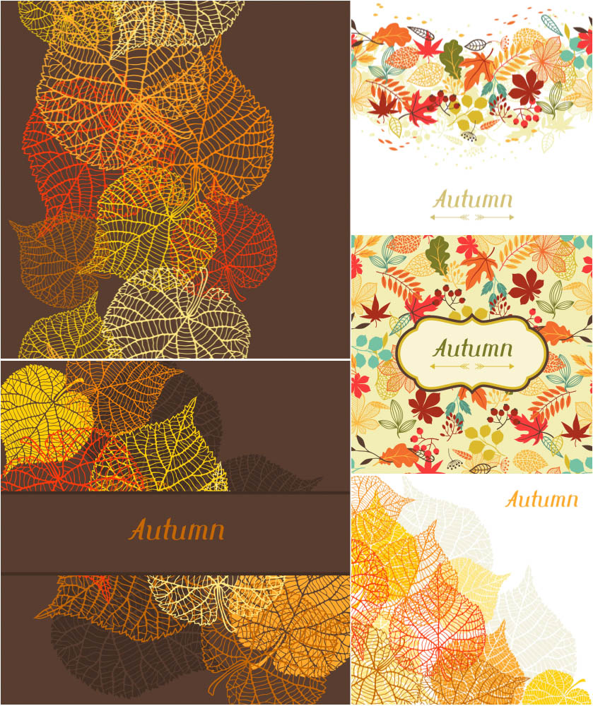 Autumn (fall) backgrounds with golden leaves