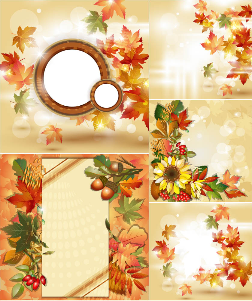 Autumn (fall) backgrounds with sunflowers and leaves
