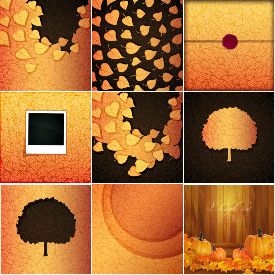 Autumn (fall) black backgrounds with leaves