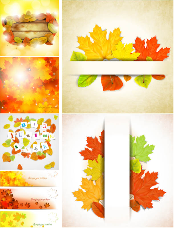 Autumn (fall) cards backgrounds and banners with leaves