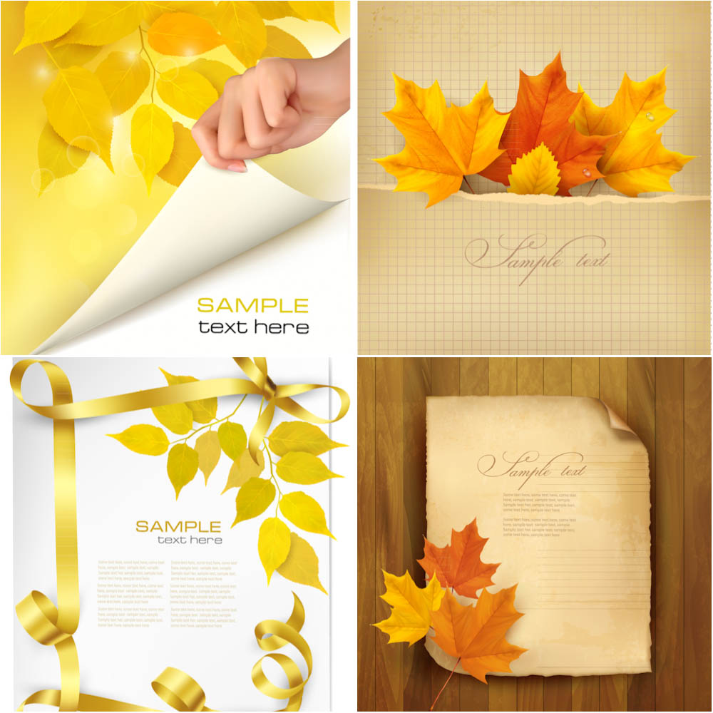 Autumn (fall) cards with female hand and reddish leaves