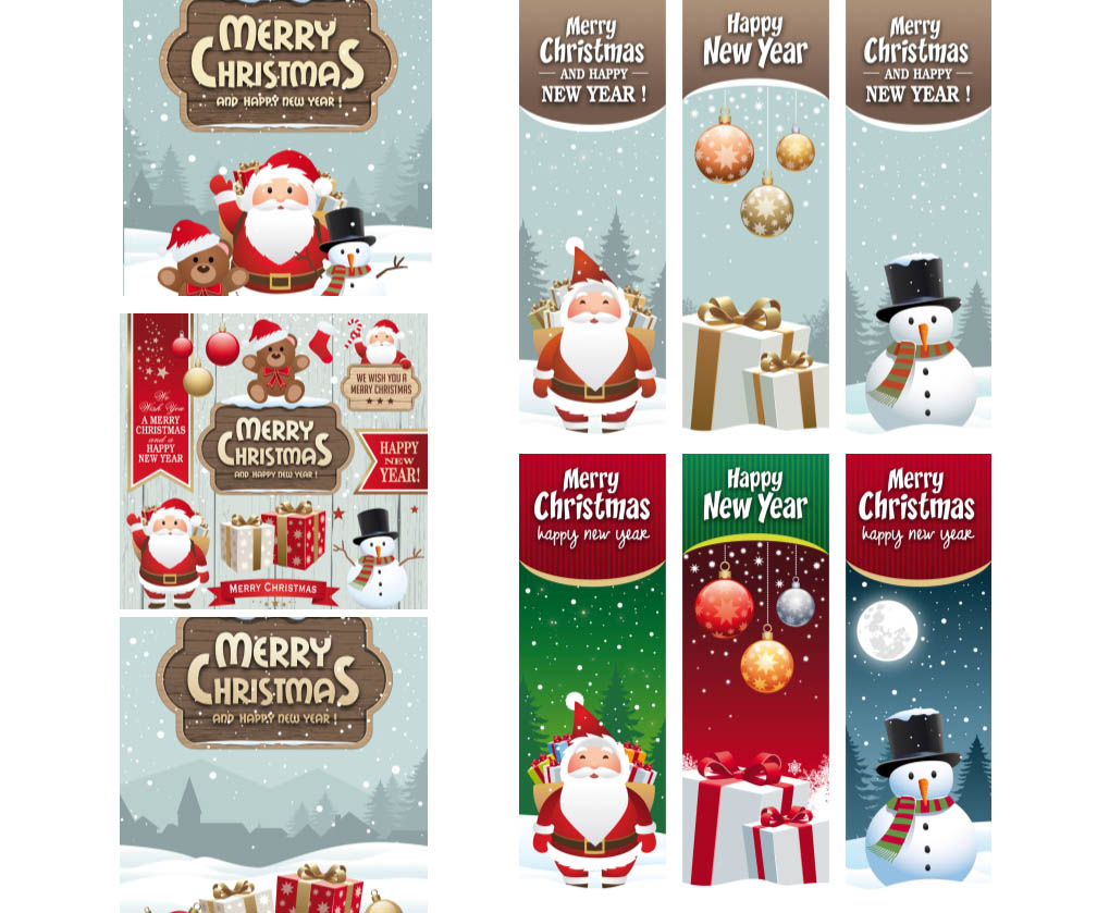 Beautiful Christmas and New Year banners and cards with Santa Claus, snowman and gifts