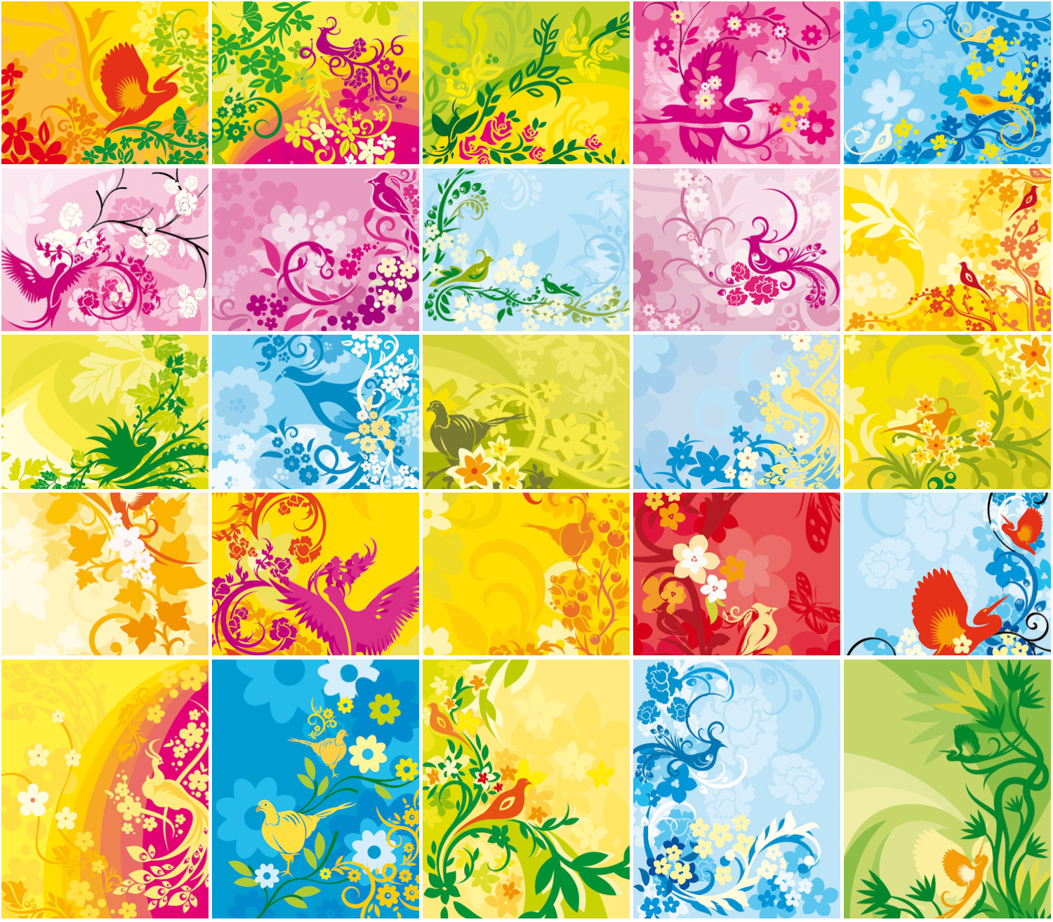 Collection floral spring backgrounds with abstract birds vector