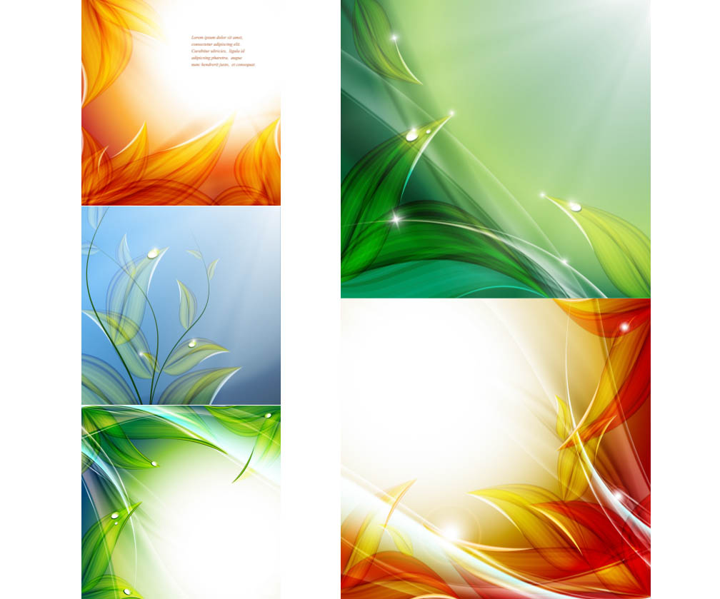 Floral backgrounds with dew on leaves