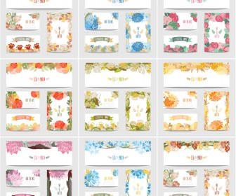 Floral wedding cards templates vector