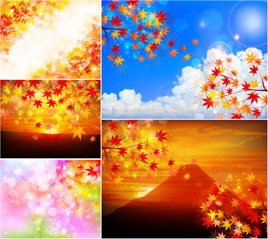 Shiny Autumn (fall) backgrounds with yellow leaves