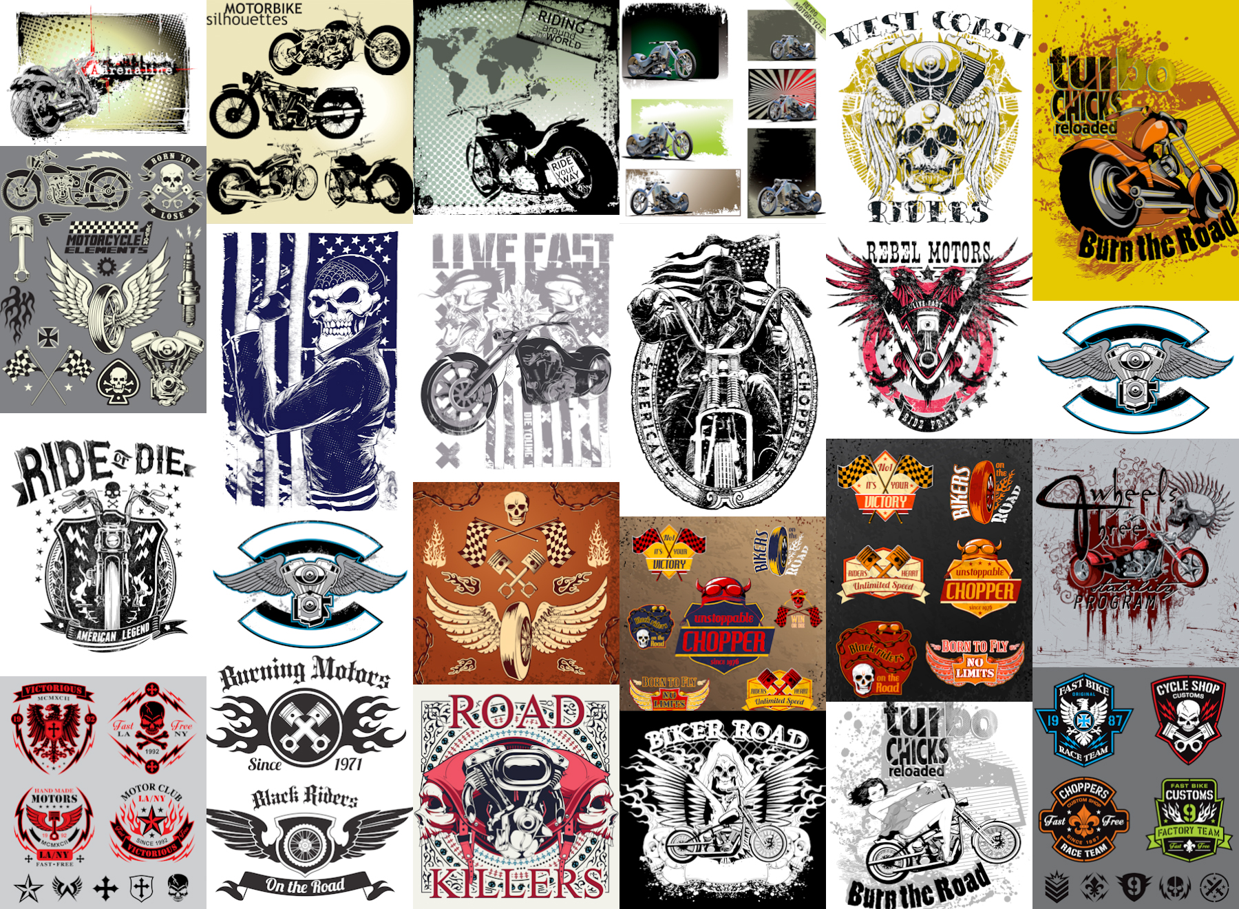 Grunge Bike designs, Bike labels, motorcycle backgrounds or t-shirt designs