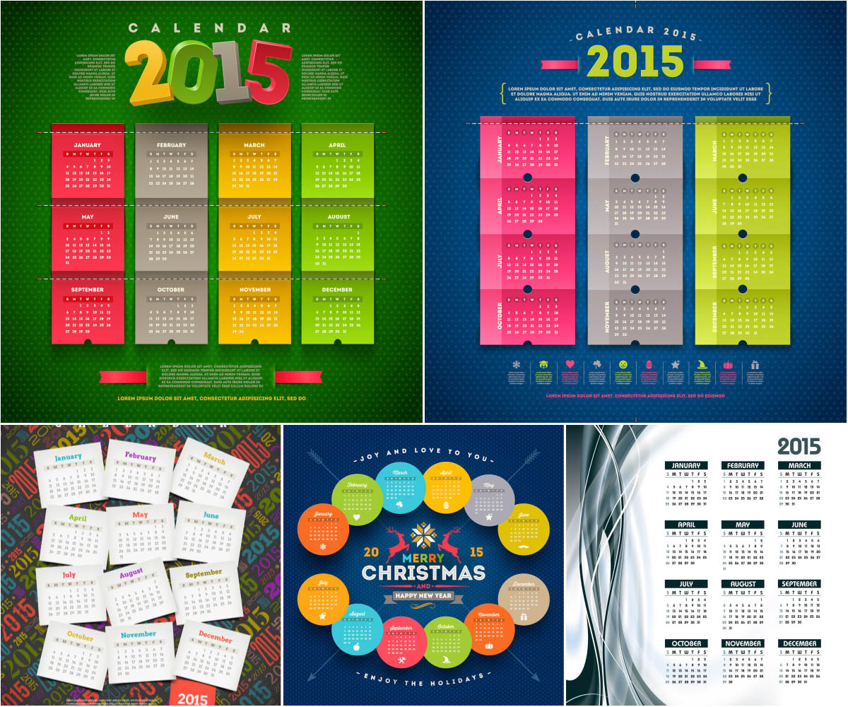 Happy New Year 2015 celebration calendar
