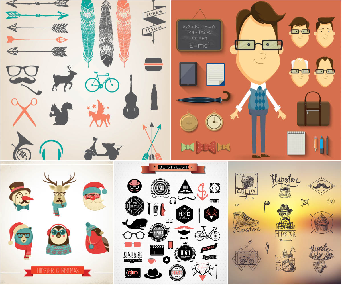 Hipster backrounds and icons