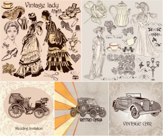 Retro style cars, womans and accesories