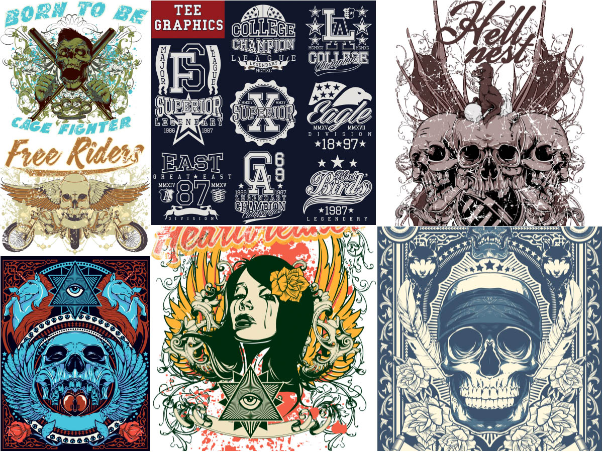 T-shirt designs with skulls and other
