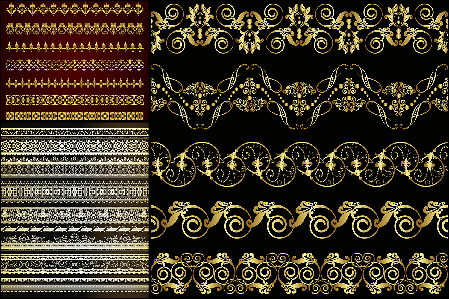 Gold ornate borders vector