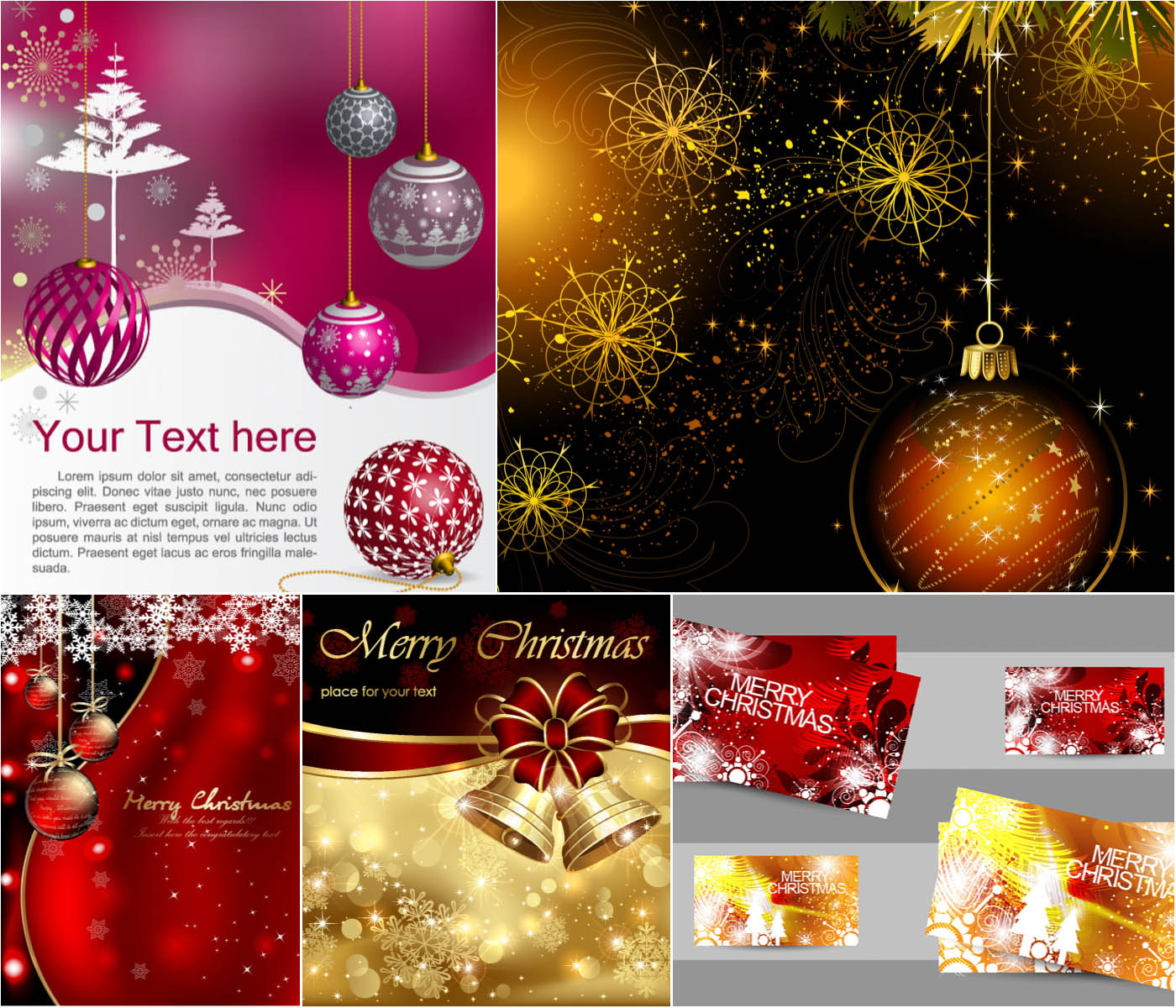 Merry Christmas greeting cards vector set 3