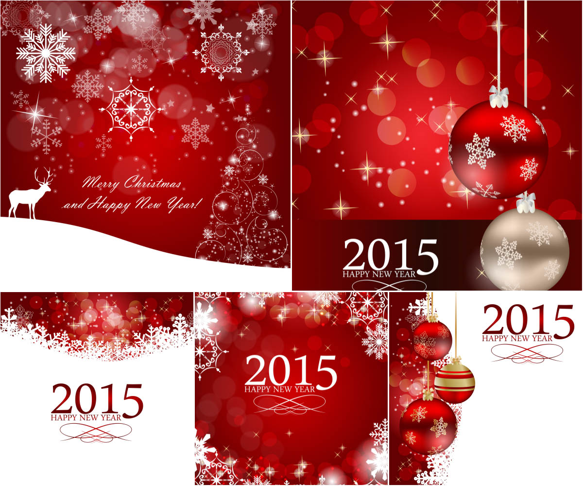 Red 2015 Christmas backgrounds vector