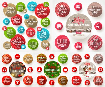 Round frames with Christmas greetings vector