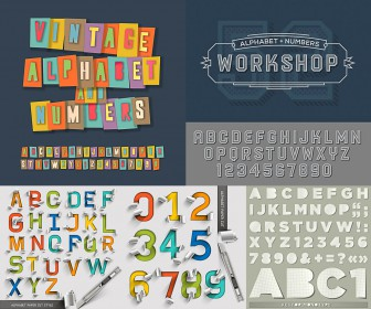 Creative alphabet templates vector free download