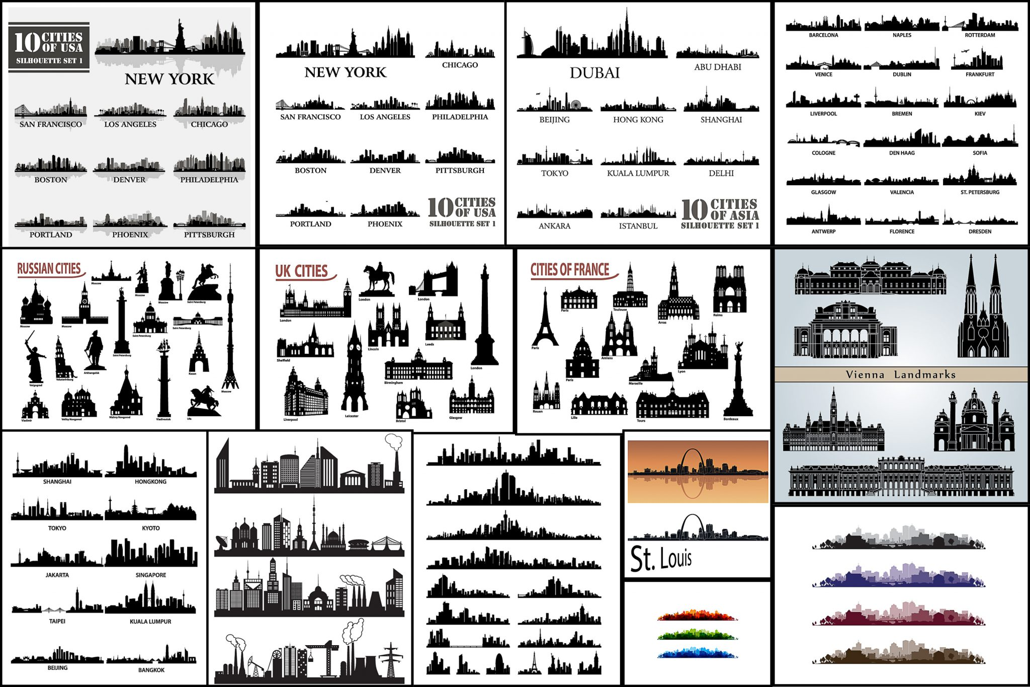 Silhouettes of all the world's major cities, USA cities vector