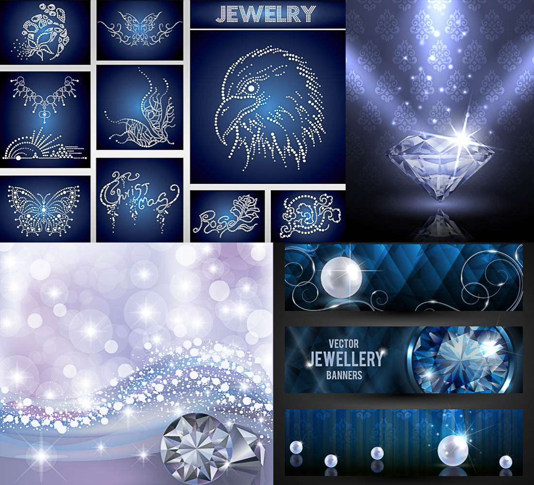 Backgrounds with diamonds and banners with jewels vector