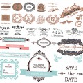 Decoration elements for wedding invitation vector