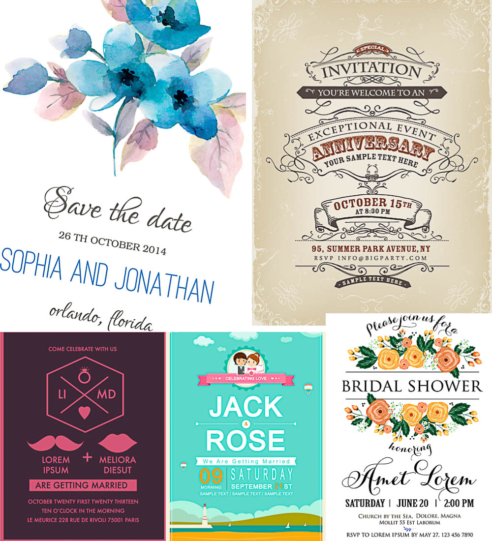 Different wedding invitations vector free download – VectorPicFree