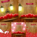 Postcards Happy Valentine's Day with lanterns vector