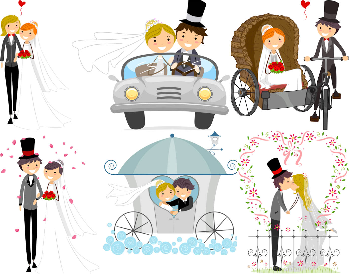 Vector wedding backgrounds with happy newlyweds