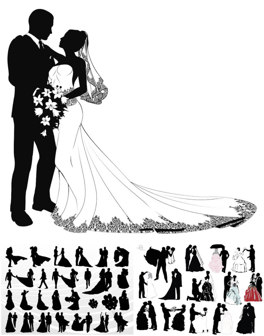 Wedding couple silhouettes vector