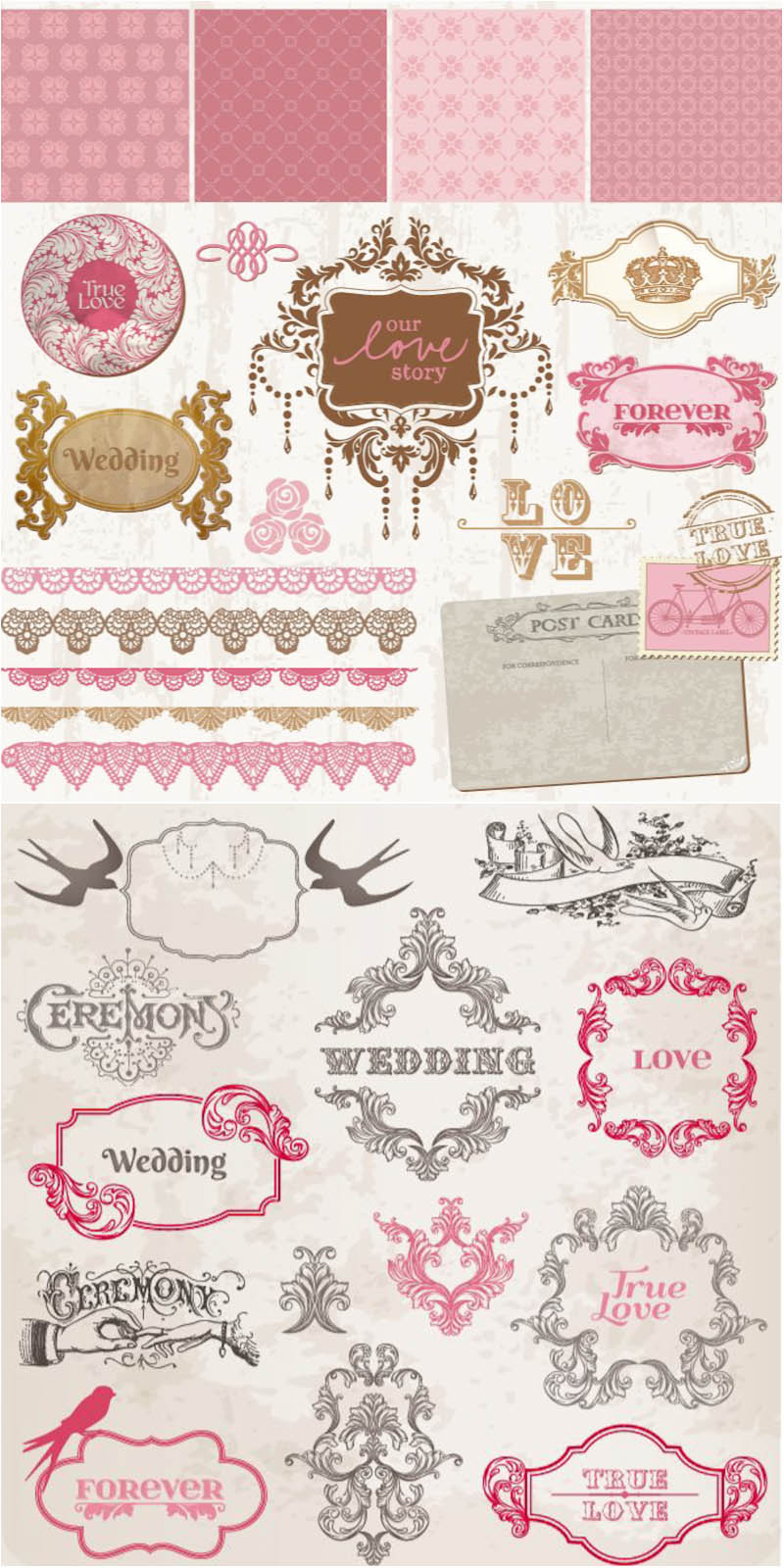 Wedding decorative frames and borders vector