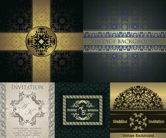 Wedding invitations and backgrounds are richly decorated with gold vector