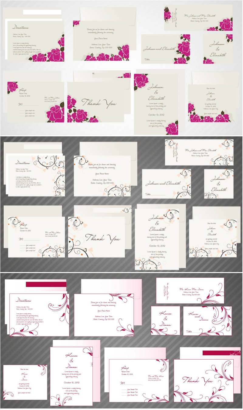 Wedding invitations cards vector