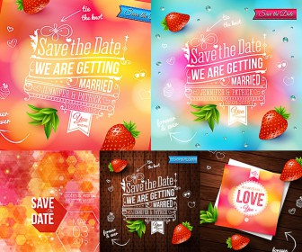 Wedding invitations fun and in vivid colors with strawberries vector
