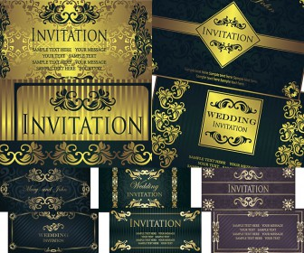 Wedding invitations in form banners vector