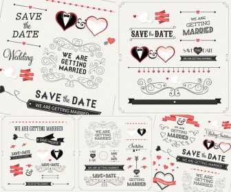 Wedding invitations set of calligraphic inscriptions and elements vector
