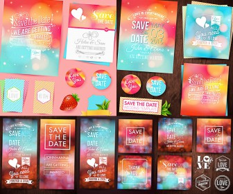 Wedding set of vectors with banners. cards and invitations vector