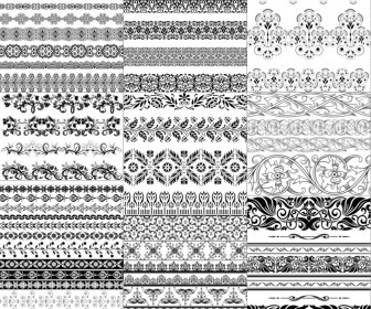 Decorative borders in vintage and floral style vector