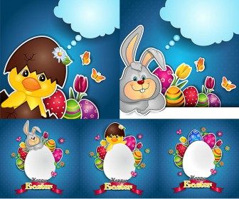 Easter backgrounds and cards with cloud and big egg vector