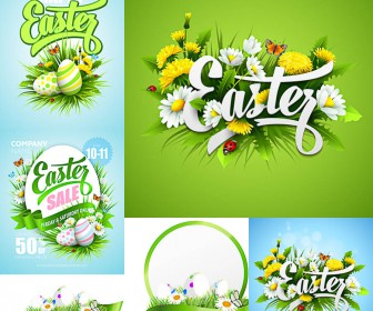 Green Happy Easter cards templates vector