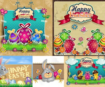 Happy Easter postcards vector