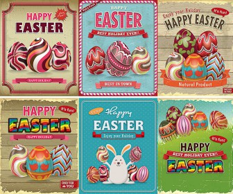 Vintage Easter cards vector free download ai eps