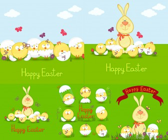 Easter cards with bunny and chick vector free download